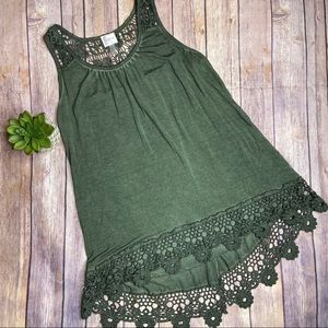 Cupio Green Crochet Split Back Tank Sz S